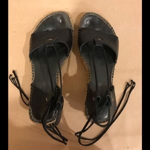Eric Michael black leather wedges espadrilles, 38